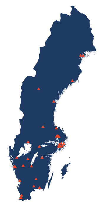 Map over Sweden with the organisations in the SND network
